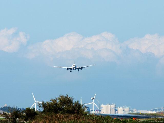 羽田空港へのファイナルアプローチ